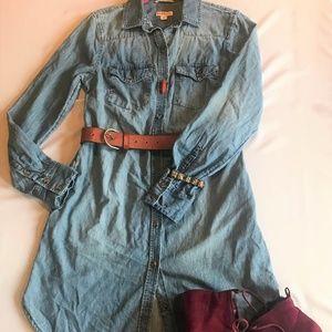 🍁Merona Jean Dress XS Tee Shirt Dress Button Up